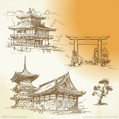 Illustration about Kyoto, Nara, japanese heritage - hand drawn collection. Illustration of cultural, japanese, nature - 26787577 Japanese Temple Tattoo, Japanese Tattoo Art, Japanese Art, Japanese Pagoda, Architecture Tattoo, Japanese Architecture, Ancient Architecture, Tattoo Japonais, Tattoo Samurai
