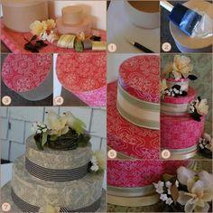 Solteiras-Noivas-Casadas: DIY - Faça Você Mesma: Bolo de Papel com Molde de Caixa