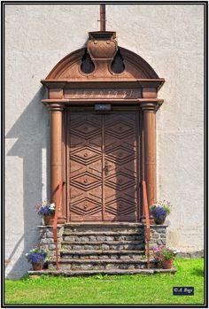 Door to Gulsrud chapel, built in 1931, Norway