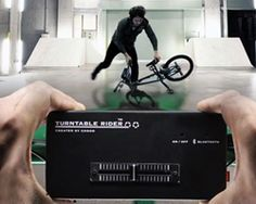 developed by interaction artist toshiyuki sugai to encourage bike sharing practices in japan, three add-on pieces convert bicycles into DJ consoles, permitting live-mixing by riding, jumping, and performing stunts.