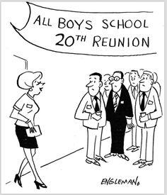 EARL ENGLEMAN - All Boys School 20th Reunion - item from scan School Reunion, Cartoons, Knowledge, Comics, Boys, Baby Boys, Cartoon, Cartoon Movies, Senior Boys