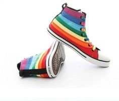 Fashion-Multi-Color-Womens-Canvas-Rainbow-High-Top-Sneakers-Sports-Boots-Shoes