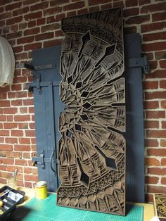 """Oakland-based artist Gabriel Schama continues his adventures with his trusty laser cutter (affectionately called """"Elsie"""") to produce his distinct, Laser Art, Laser Cut Wood, Laser Cutting, Wood Cladding, Geometric Mandala, Cnc Wood, Wood Carving Art, Up Book, Filigree Design"""