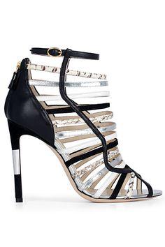 Burak Uyan Black, White & Silver Strappy Sandal Spring 2014 #Shoes #Heels