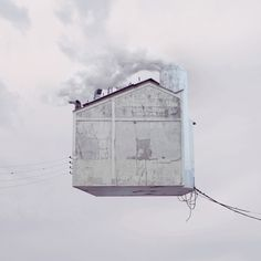 """""""flying houses"""" photo and art manipulation by laurent chehere"""