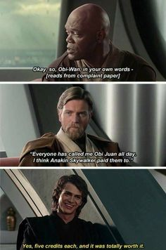 I wish this movie had more about Anakin and Obi-wan because in the Clone Wars, they're so funny together, here, there's like one or two funny parts and the rest is drama. <<< I would pay money to see more scenes of them together. Star Wars Rebels, Star Wars Clone Wars, Star Wars Art, Star Trek, Starwars, Flick Flack, Star Wars Jokes, Funny Star Wars, Prequel Memes