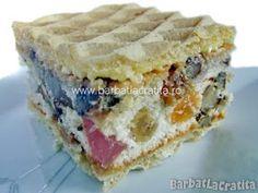 Prajitura cu foi de napolitana Rumba Food Cakes, Cupcake Cakes, Cupcakes, Romanian Desserts, Fudge, Great Recipes, Cake Recipes, Bacon, Food And Drink