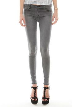 J Brand Mid Rise Super Skinny Jeans in Onyx