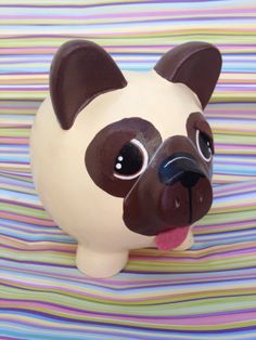 PUG piggy bank Pugs, Crafts To Make, Crafts For Kids, Pig Bank, Penny Bank, Personalized Piggy Bank, Color Me Mine, Paper Mache Clay, Diy Tumblr