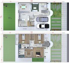 Planta de casa pequeña y moderna. Plano para terreno 10x20