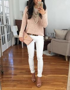 Beige And White Outfit Idea
