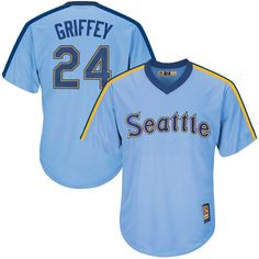 ffd6cde0e Ken Griffey Jr. Seattle Mariners Majestic Youth Cooperstown Collection Cool  Base Replica Player Jersey - Light Blue