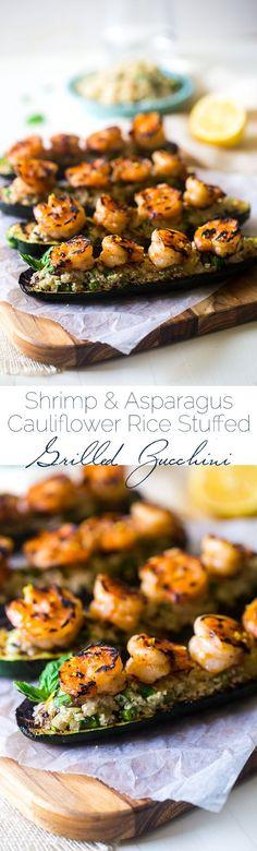 Paleo Lemon Asparagus Cauliflower Rice Stuffed Grilled Zucchini With Shrimp - Cauliflower rice is mixed with vegetables and fresh lemon, stuffed into grilled zucchini and topped with shrimp. An easy,  (Bake Shrimp)