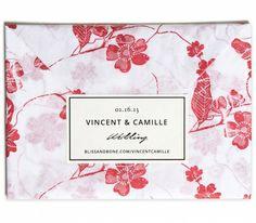 Devoir Collection / Letterpress Invitation / Floral Tissue Paper Wrap / Cream & Black Label / Persimmon, Coral, Red