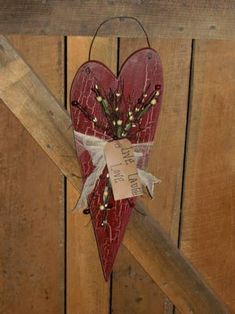 Primitive Long Heart Decorated