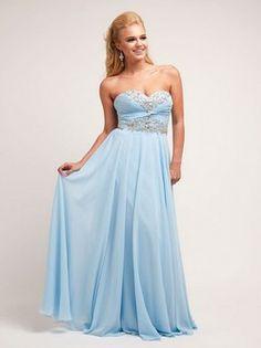 Sky Blue Chiffon & Beaded Strapless Gown Sweetheart Sleeveless Floor-length Prom Dress / Evening Dress