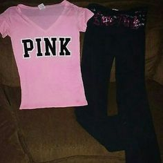 Outfit from PINK Size small Spots on shirt may come out White mark bottom pant leg probably will not come out not noticeable when wearing PINK Victoria's Secret Tops Tees - Short Sleeve