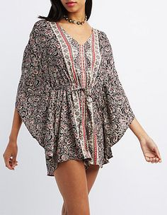 Paisley Print Tie-Back Romper: Charlotte Russe Perfect with cutout booties as a transition piece or with strappy summer gladiators!