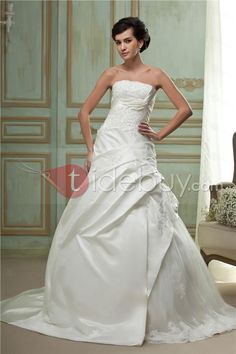 Fast Shipping A Line Silver Embroidering Strapless Wedding Dress