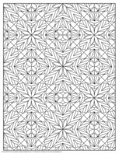 coloring pages for adults | Stars and Flowers Pattern Coloring Page