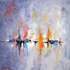 flamboyances-marines.jpg (Peinture),  50x50x2 cm par Francis Jalibert C'est une peinture à l'huile, réalisée au couteau, sur toile et châssis à clés.