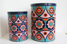 Two Vintage Tomado Tin Containers with abstract by vintagemoodsNL, €29.50