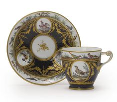 A SEVRES PORCELAIN BLEU NOUVEAU-GROUND CUP AND SAUCER<br>1792 and 1793 | Lot | Sotheby's