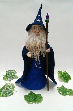 Needle Felted Merlin Wizard Figure. Needle Felting, Needle Felting Ideas, Wizards, Gandalf, Needle Felted People, Forest Folk, Mythology, Fairy Tale, Magical Beings, Enchanted Forest, OOAK, Handmade, FeltbyLisa.