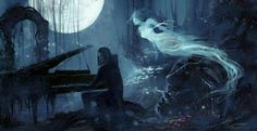 Bring the dead back to life with a little music # piano # ghost # death # spirits # dark # fantasy # digital art