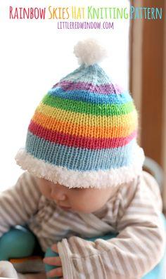 Rainbow Skies Baby Hat Free Knitting Pattern   littleredwindow.com