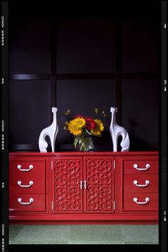 red sideboard