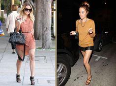Lauren Conrad: orange and leather