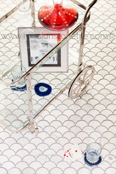 Curve Appeal Large- Carrara Fan Shaped Marble Mosaic Tile, Polished. Free shipping on marble tiles.