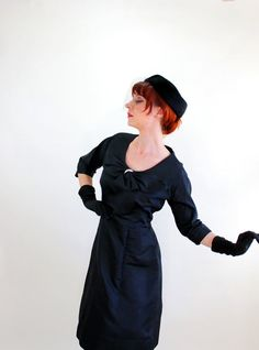 Sale  1950s Black Silk Cocktail Party Dress Audrey by gogovintage, $125.00