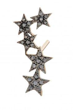 5 Star Black Diamond Stud Earring