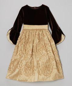 Gold Floral Velvet Bell-Sleeve Dress - Toddler & Girls