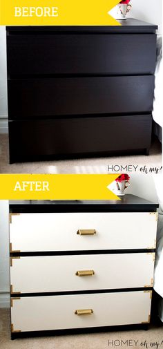 Ikea Malm Dresser got you singing the boring blues? A little DIY paint + brass hardware will quickly turn up the heat!