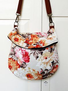 Recycled messenger bag orange floral curtain