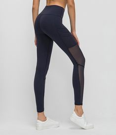 Mesh Naked-feel Fabric High Waisted Leggings Mesh Workout Leggings, Workout Leggings With Pockets, Yoga Pants Outfit, Gym Outfits, High Waist, Naked, Tights, Feelings, Fitness