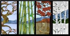 Beach Scene Stained Glass Patterns | Stained Glass Pattern 4 Panel SeasonsScene