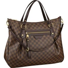 """Louis Vuitton Evora GM Damier Ebene Canvas N41132 Handbags:Elegant pleats, classic Damier Ebene canvas and luxurious leather trimmings combine to give the Evora GM a timeless charm. Its feminine shape and generous interior add to its sophisticated style.  * Size:18.9"""" x 19.7"""" x 5.5"""" * Hand or shoulder carry with removable, adjustable strap * Zipped front pocket * Interior double patch pocket * D-ring for keys and accessories * Soft Microfiber lining"""