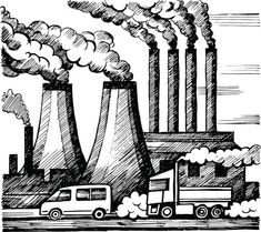 Ecology air and atmosphere pollution vector art illustration Air Pollution Project, Pollution Pictures, Air Pollution Poster, Art Environnemental, Environmental Pollution, Poster Drawing, Drawing For Kids, Art Plastique, Line Illustration