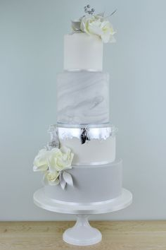 Silver Marble wedding cake by Blossom Tree Cake Company, Harrogate, North Yorkshire (Marble Cake)