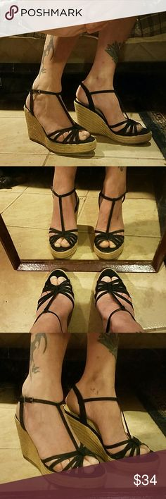 """Colin Stewart Leather T-Strap Wedges Gently loved and in beautiful condition. 4"""" heels with leather (possibly faux) straps and side buckles. Rope details cover the wedges. No trades, holds. Firm price.  Thank you! Colin Stuart Shoes Wedges"""