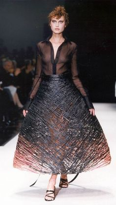 68c832ccc51 Sculptural Skirt with textured basketweave-like construction  alternative  materials from Gianfranco Ferré.