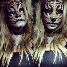 TIGER MAKEUP.  Halloween ideas #makeup #tiger #rawr
