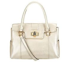 Tignanello Pebble Leather Satchel with Turnlock Hardware. find it at qvc.com! Only $115.00.