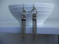 ICON COLLECTION Earrings Boho Chic Dangle Chains Rhinestones Silver Alloy