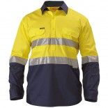 Bisley Workwear Safety Wear 2 Tone Hi Vis Cool Lightweight Closed Front Shirt 3M Reflective Tape - Long Sleeve Yellow/Navy