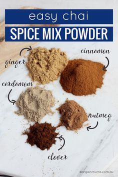 Easy Chai Spice Mix Powder With Ground Cinnamon, Ground Ginger, Cardamom Powder, Ground Nutmeg, Clove Chai Tea Recipe, Latte Recipe, Chai Spice Mix Recipe, Homemade Spices, Homemade Seasonings, Homemade Breads, Tea Recipes, Coffee Recipes, Gastronomia